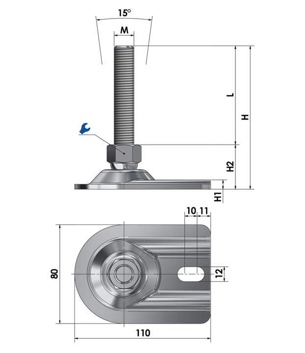 Adjustable foot / machine foot for floor mounting BSF 80 V reinforced version steel chrome-plated sketch