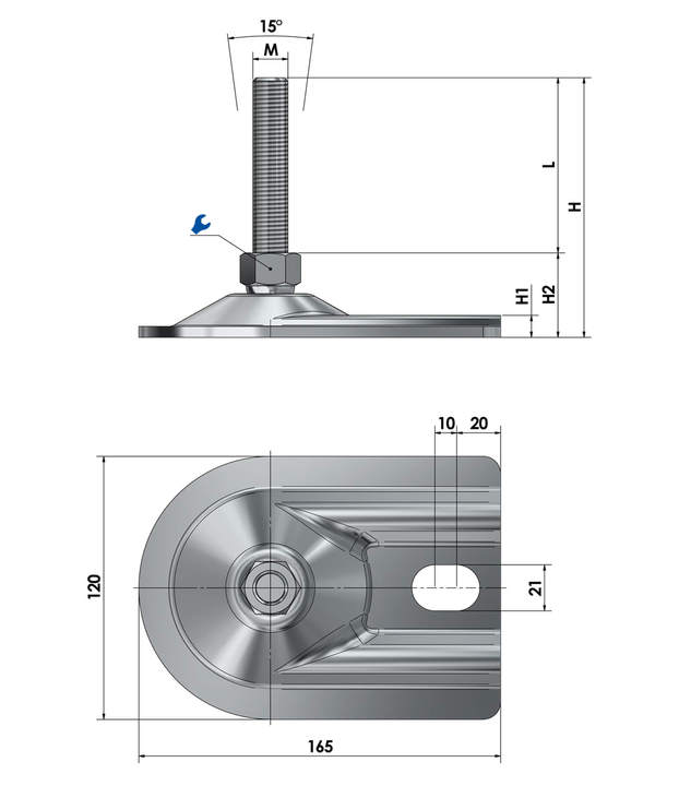 Adjustable foot / machine foot for floor mounting BSFE 120 V reinforced version stainless steel sketch