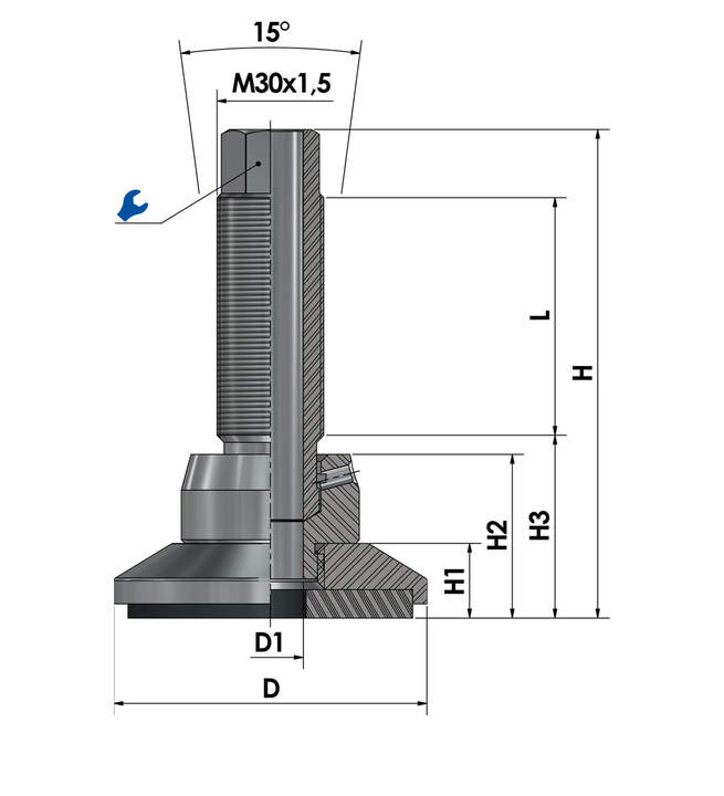 Leveling foot / adjustable foot JCMHD80C-S6-HSD110 sketch