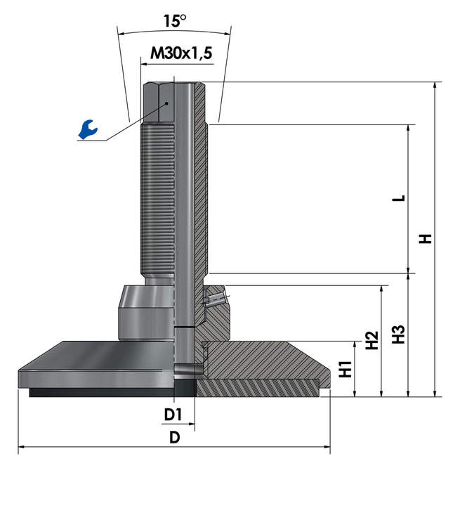 Leveling foot / adjustable foot JCMHD 130C-S6-HSD110 sketch