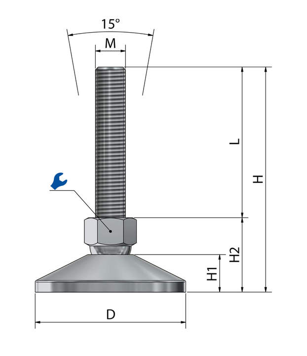 machine foot, leveling mount stainless steel VME 80 sketch