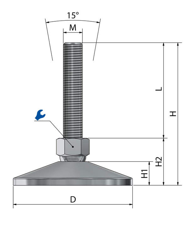 machine foot, levelling mount stainless steel VME 100 sketch