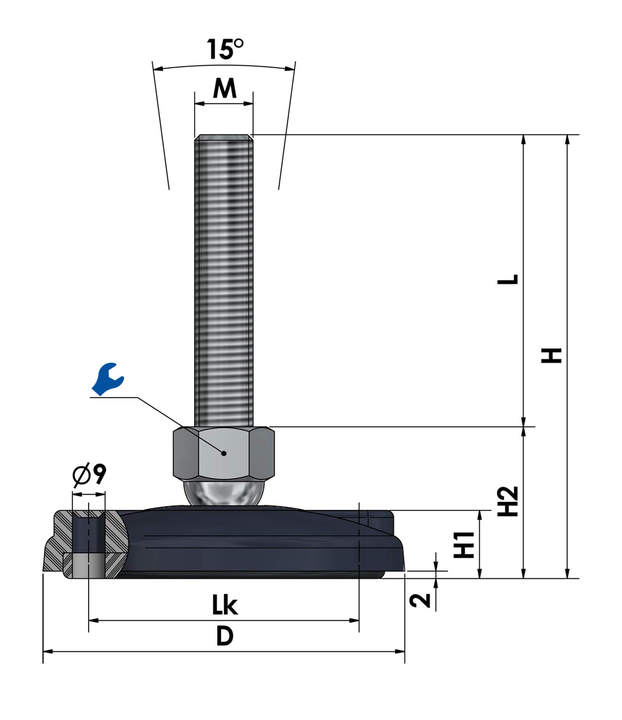 machine foot, swivel foot with anti-slip plate for floor mounting plastic/stainless steel KFEB 100 N sketch