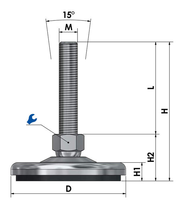 Adjustable foot / machine foot / vibration damper steel chrome-plated SF 100 ESD - electroconductive sketch