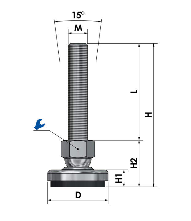 Adjustable foot / machine foot / vibration damper steel chrome-plated SF 50 ESD - electroconductive sketch