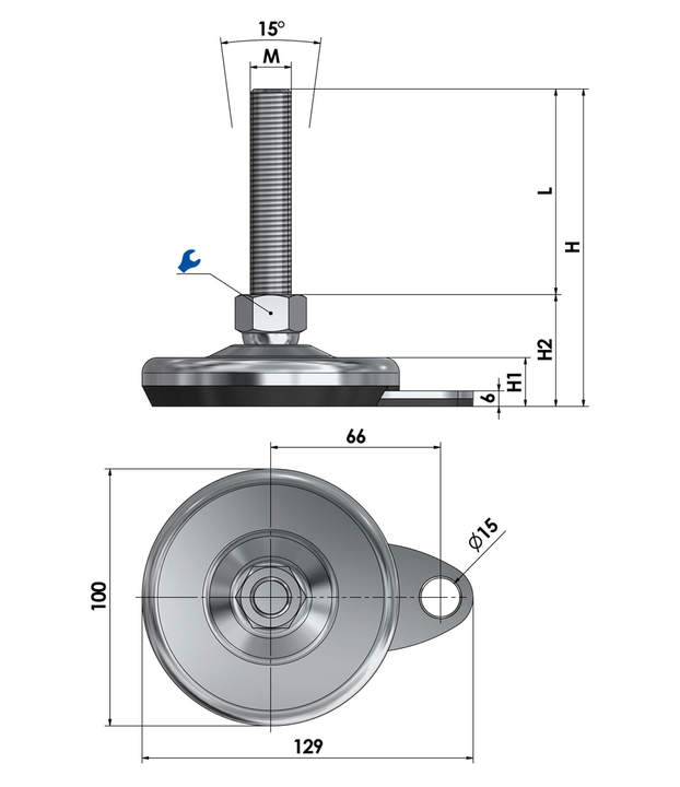 Machine foot / adjustable foot / vibration damper SFL 100 for floor-mounting steel chrome-plated sketch