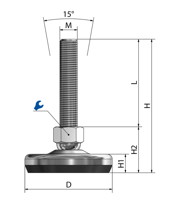 Machine foot / adjustable foot / vibration damper SFE 80 stainless steel sketch