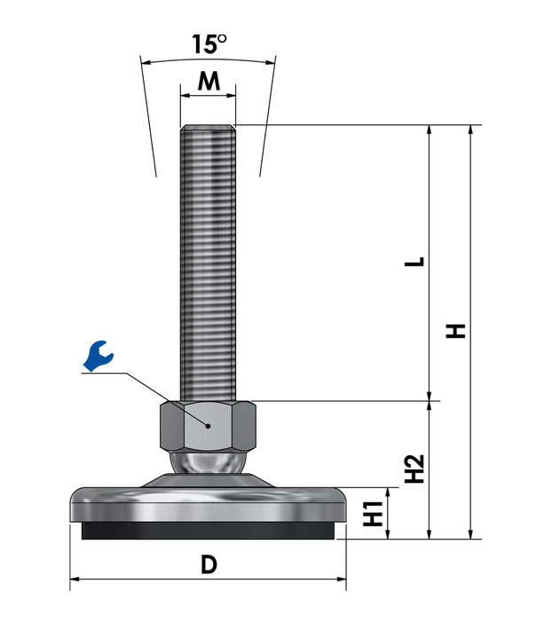 Adjustable foot / machine foot / vibration damper steel chrome-plated SF 80 ESD - electroconductive sketch