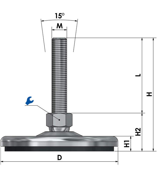 Adjustable foot / machine foot / vibration damper steel chrome-plated SF 125 ESD - electroconductive sketch