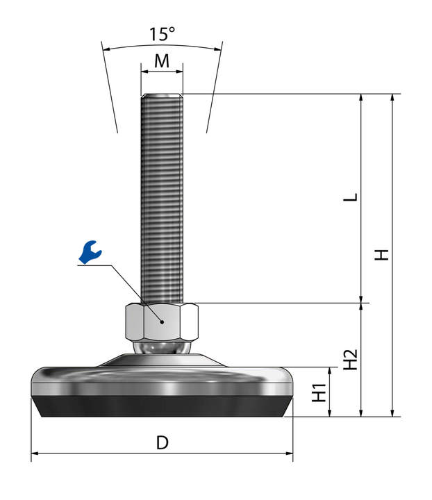 Machine foot / adjustable foot / vibration damper SF 100 steel chrome-plated sketch