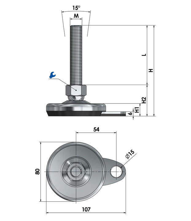 Machine foot / adjustable foot / vibration damper SFL 80 for floor-mounting steel chrome-plated sketch