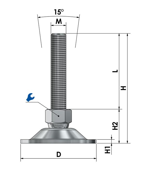 Swivel foot, machine mount stainless steel STFE 80 sketch