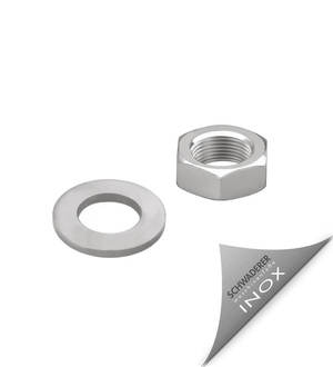 Nut and washer DIN 439/125A stainless steel, base design