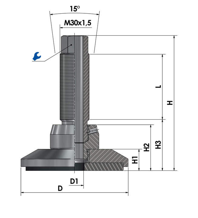 Leveling foot / adjustable foot JCMHD 100C-S6-HSD180 sketch