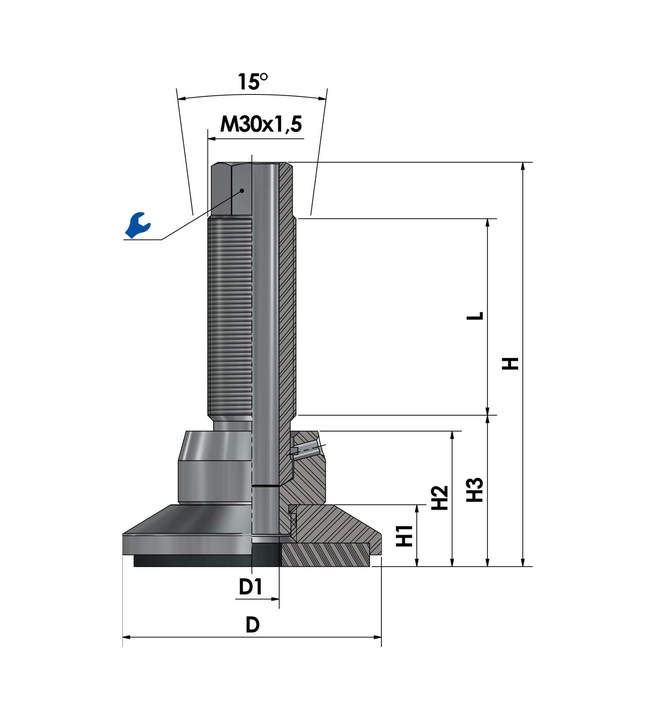 Leveling foot / adjustable foot JCMHD 80C-S12-HSD180 sketch