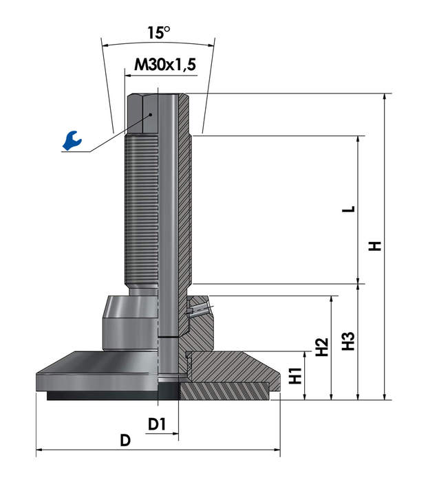 Levelling mount / levelling foot JCMHD 100C-ST-HSD110 sketch