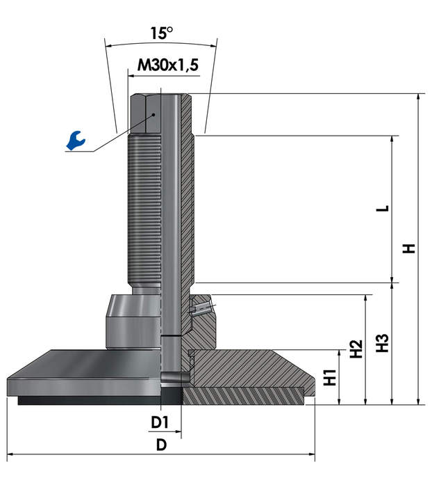 Levelling mount / levelling foot JCMHD 130C-ST-HSD180 sketch