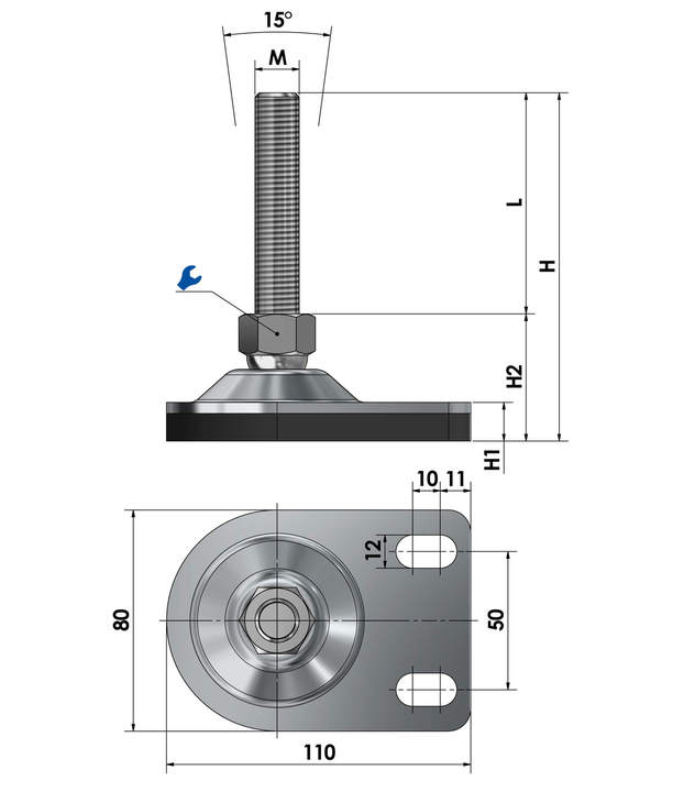 Adjustable foot / machine foot for floor mounting BSF 80-10-70 vibration damped steel chrome-plated sketch